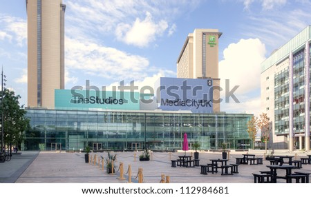 MANCHESTER, ENGLAND - SEPT 2: Media City on September 2nd, 2012 in Manchester, England. Media City in Salford is the new home for the BBC studios for TV and radio broadcasting in Great Britain. - stock photo