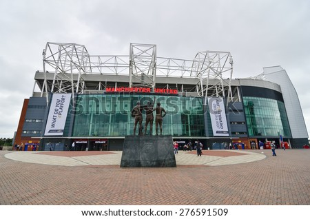 MANCHESTER, ENGLAND - September 6, 2014: Old Trafford stadium is home to Manchester United one of the wealthiest and most widely supported football teams in the world.