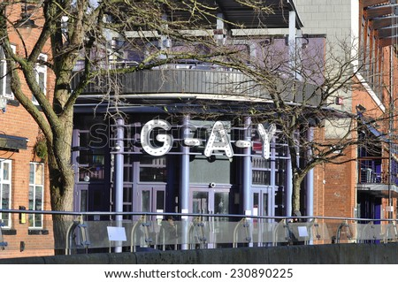 MANCHESTER - JAN 05: Gay cafe in Gay village on January 05.2014 in Manchester UK