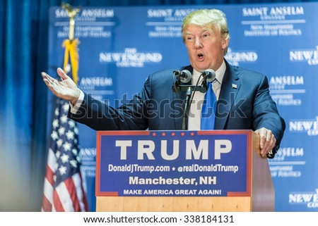 Manchester, New Hampshire - November 11, 2015: Donald Trump speaks to supporters - stock photo