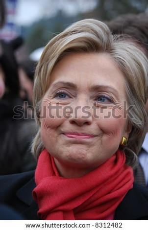 MANCHESTER, NH – JAN 8: Closeup of Senator Hillary Clinton campaigning to become the Democratic party presidential candidate on January 8, 2008, in Manchester, New Hampshire. - stock photo