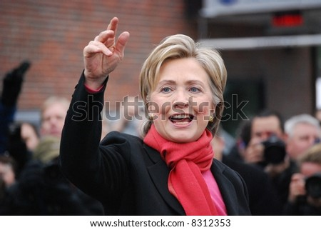 MANCHESTER, NH – JAN 8: Senator Hillary Clinton campaigning to become the Democratic party presidential candidate on January 8, 2008, in Manchester, New Hampshire. - stock photo