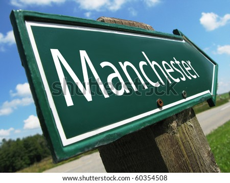Manchester road sign - stock photo