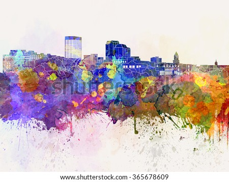Manchester skyline in watercolor background - stock photo