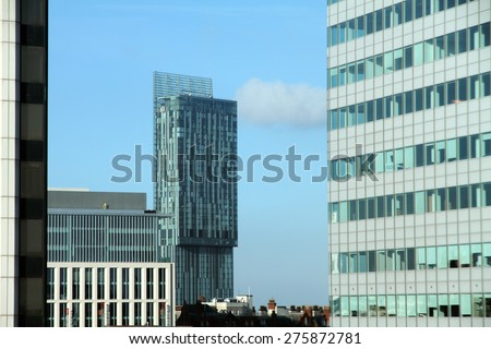 MANCHESTER,UK - APRIL 19: Beetham Tower is a 47-storey skyscraper designed by Ian Simpson. The tallest building in Manchester, on April 19 2014 in Manchester England UK - stock photo