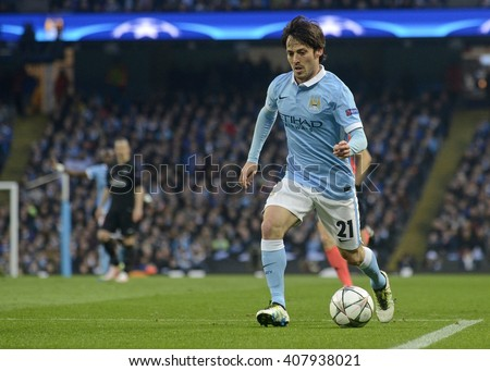 MANCHESTER, UK - APRIL 12, 2016: David Silva of Manchester City is pictured during UEFA Champions League quarterfinal game between Manchester City and Paris Saint Germain at Etihad stadium. - stock photo