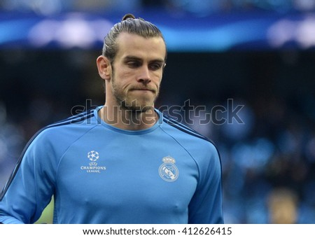 MANCHESTER, UK - APRIL 26, 2016: Gareth Bale of Real pictured during the warm up prior to the UEFA Champions League semi-final game between Manchester City and Real Madrid at Etihad stadium. - stock photo