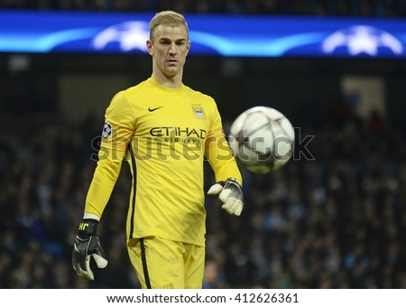 MANCHESTER, UK - APRIL 26, 2016: Joe Hart of City pictured during UEFA Champions League semi-final game between Manchester City and Real Madrid at Etihad stadium.