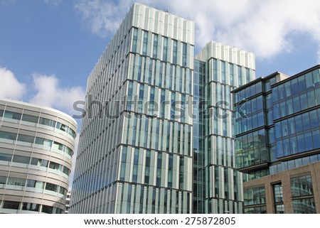 MANCHESTER UK-APRIL 19: Spinningfield is a modern area was specially developed in the 2000s as a business, retail and residential development of Manchester on April 19,2014. - stock photo