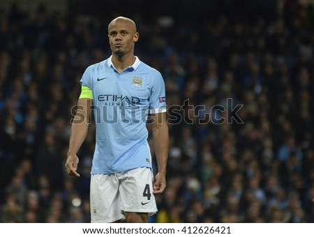 MANCHESTER, UK - APRIL 26, 2016: Vincent Kompany pictured during UEFA Champions League semi-final game between Manchester City and Real Madrid at Etihad stadium. - stock photo