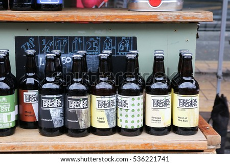 MANCHESTER, UK - DECEMBER, 10, 2016: Craft beer, Artisan Market, Northern Quarter. Manchester artisan markets offering everything from fresh produce to local crafts to vintage goods