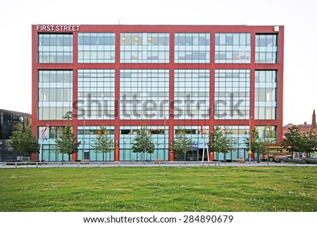 MANCHESTER, UK - JUNE 6, 2015: First Street, Manchester. Manchester City Council hopes that Home will boost the economy by attracting other businesses to this part of the city centre. - stock photo