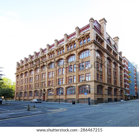 MANCHESTER, UK - JUNE 6, 2015: Victorian building. Manchester City Council hopes that Home will boost the economy by attracting other businesses to this part of the city centre. - stock photo