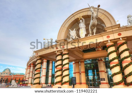 MANCHESTER, UK - NOVEMBER 4: The Trafford Centre is the largest shopping centre in the UK and the first 'mega mall' which combines retail, dining and leisure facilities.   Manchester November 4, 2012. - stock photo