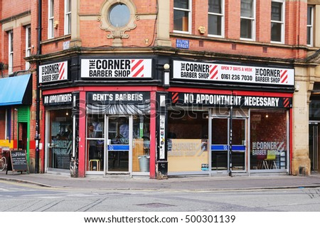 MANCHESTER, UK - OCTOBER 15, 2016: Barber shop, Manchester's Northern Quarter. The Northern Quarter is an invention of the 1990's as part of the regeneration and gentrification of Manchester.