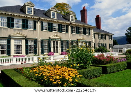 Manchester Village, Vermont - September 18, 2014:  East Front of Robert Todd Lincoln's 1905 Georgian Revival Summer home and its formal gardens - stock photo