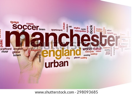 Manchester word cloud concept with abstract background - stock photo