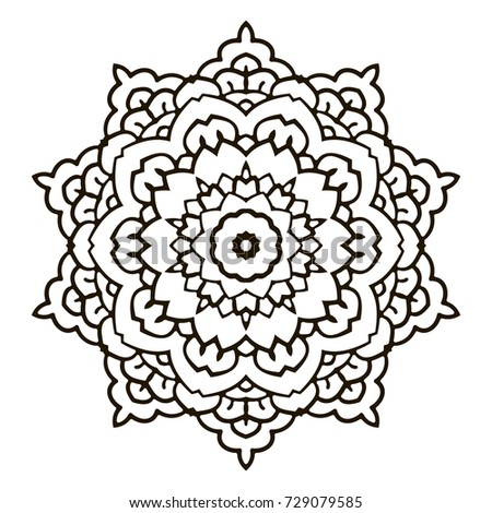 Mandala Black And White Decorative Element Picture For Coloring