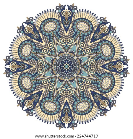 mandala, circle decorative spiritual indian symbol of lotus flower, round ornament pattern, raster version - stock photo
