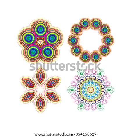 Mandala, circular pattern. A pattern from color spirals for your designs. Spirals and pattern elements of red, blue and green color. Set of circular patterns. - stock photo