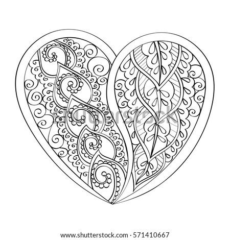 Mandala Heart Indian Patter Coloring Book Stock Illustration ...