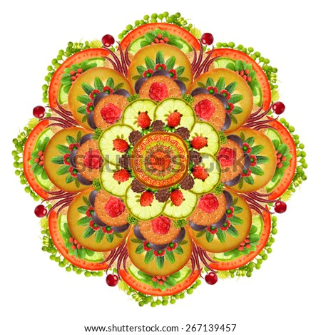 Mandala Vegetarian Pizza Vegetables Fruits Pastries Stock Photo