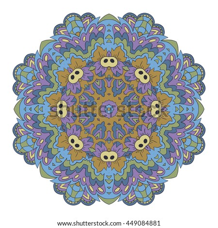 Mandala. Zentangl round ornament. Relax, meditation. Blue, green and purple - stock photo