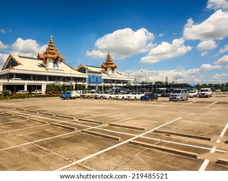 MANDALAY MAY 22: Mandalay international airport  in Mandalay, Myanmar on May 22, 2014. This airport is completed in 1999. It is the largest and most modern airport in the country. - stock photo