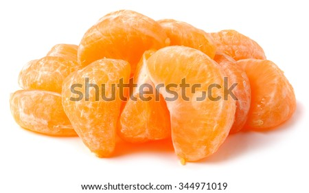Mandarin citrus fruit slices on a pure white background. - stock photo