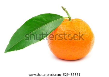 Mandarin fruit with leaf isolated on white background