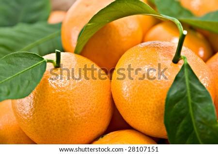 mandarin in basket close up - stock photo