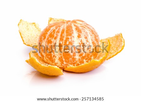 mandarin orange  fruit  isolated on white background .