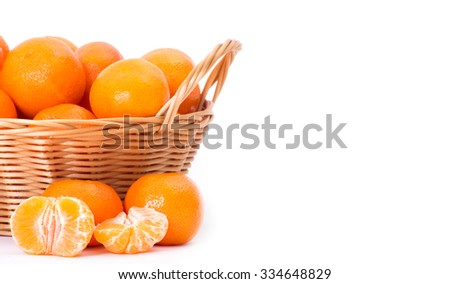 Mandarin, tangerine citrus fruit isolated on white background - stock photo
