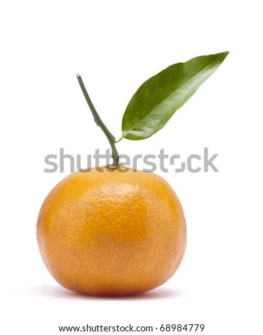 Mandarin; tangerine with a leaflet; object on white background