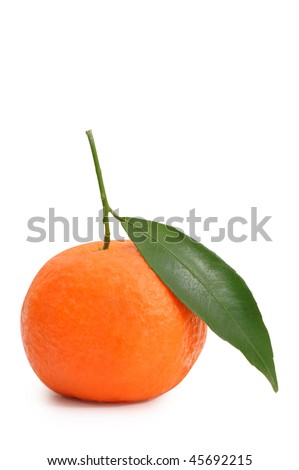 Mandarin with leaves. Clipping path included.