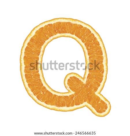 Mandarine alphabet isolated on white background (Letter Q)  - stock photo