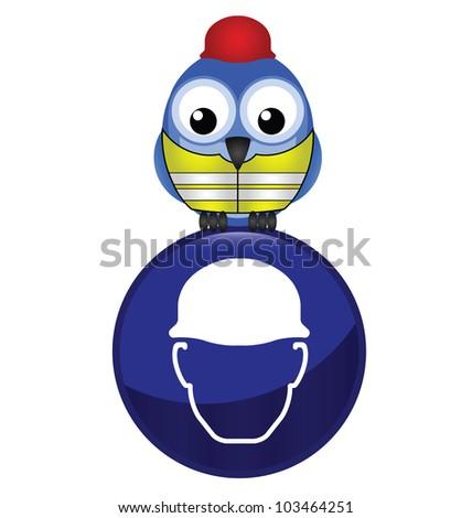 Mandatory construction hardhat sign with bird wearing protection clothing - stock photo