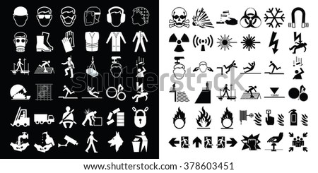 Mandatory construction health and safety and hazard warning related monochrome icon collection isolated on white background  - stock photo