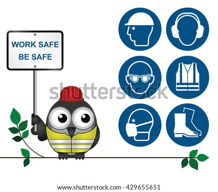 Mandatory construction manufacturing and engineering health and safety icons to current British Standards isolated on white background - stock photo