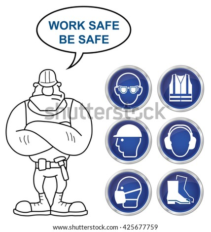 Mandatory construction manufacturing and engineering health and safety shiny blue icons to current British Standards with work safe be safe message isolated on white background - stock photo