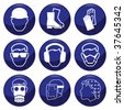 Mandatory construction related icon set each individually layered - stock vector