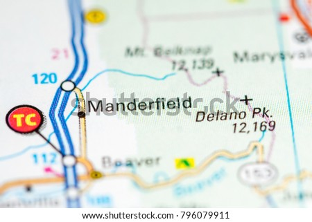Manderfield Utah USA On Map Stock Photo (Royalty Free) 796079911 ...