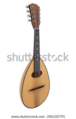 Mandolin isolated on white background. 3d render image. - stock photo