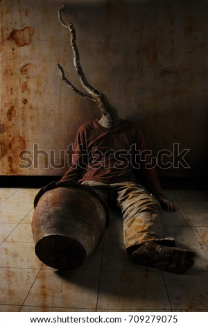 Young Woman Tiedup Blind Folded Muted Stock Photo 53997193