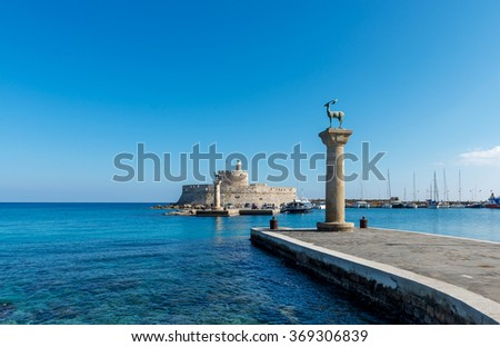 Mandraki is one of the three harbors in Rhodes island, Greece