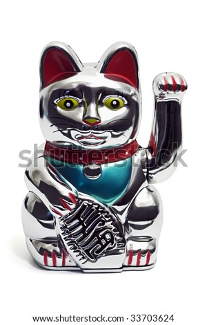 maneki neko asian luck bringing fortune cat figurine isolated on white - stock photo
