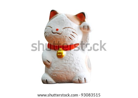 Maneki Neko (Japanese Welcoming Cat, Lucky Cat, Cat Swipe, Money cat, or Fortune Cat) - stock photo