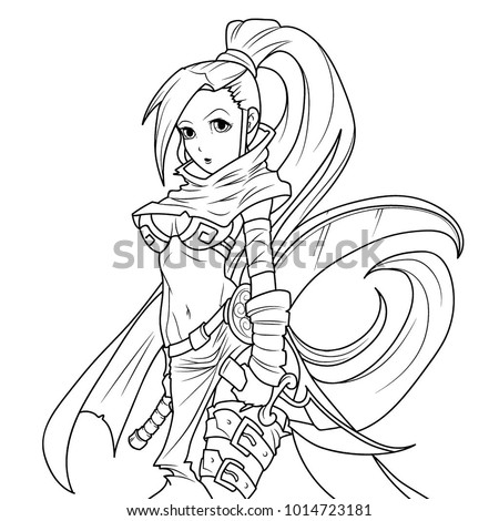 dagger coloring page - manga girl posing knife coloring page stock illustration