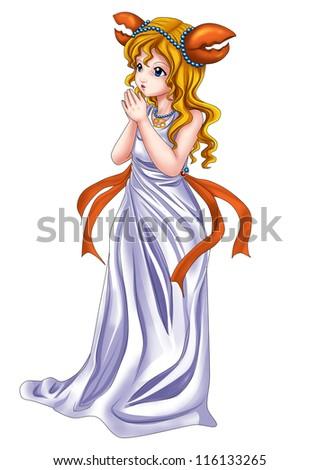 Manga style illustration of zodiac symbol, Cancer - stock photo