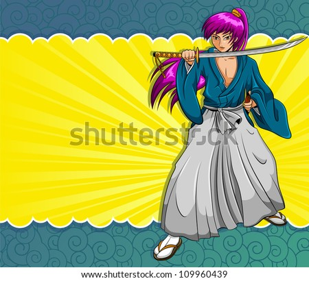 manga style samurai on a colorful background (vector version available in my portfolio) - stock photo